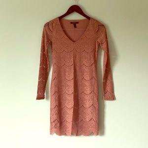 Blush lace long sleeve dress